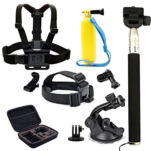 Legazone 6 All-in-1 Combo Accessories Kit for Legazone Sports Camera - Head Strap Chest Belt Handle Monopod Folating Mount & Auto Suction Cup