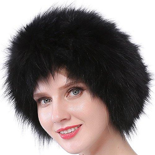 Valpeak Womens Winter Headbands Real Knitted Fox Fur Earmuff Hat Strong Elasticity (Black)