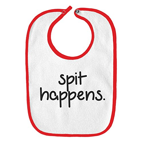 - Spit Happens Drool Funny Parody Infant Baby Bib - White with Cherry Red Edging
