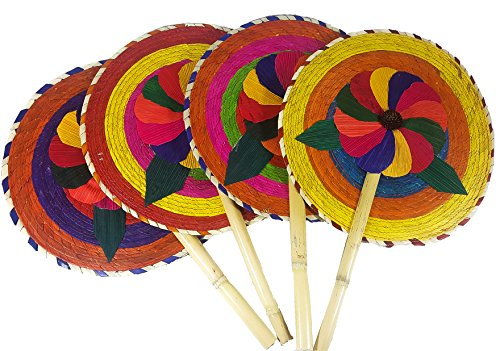 13'' Palm Hand Fans, 4 Pack Palm Leaf Hand Fans, Bundle Decorative Handfan, Wicker Floral Fan, Fiesta Party, Floral Handfan, Handmade Palm Fans, Perfect Wedding Favor Fans,]()