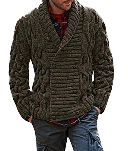 (Hestenve Mens Shawl Collar Cable Knitted Cardigan Chunky Button Down Striped Sweaters Jacket Coat)