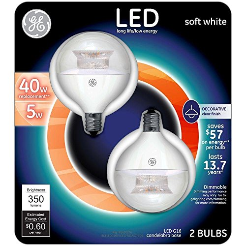 [GE LED 40W Equivalent Soft White G16 Globe Clear Candelabra Base Dimmable LED Light Bulb (2-Pack)] (G16 Led)