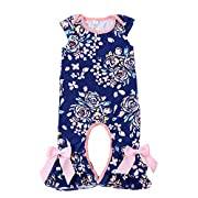 Kaiya Angel Newborn Infant Baby Girl Jumpsuit Romper Cotton Print Sleeveless 3-9 Months (NB, Deep-Blue)