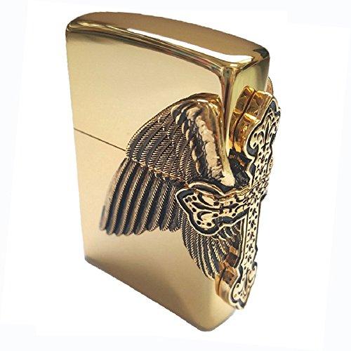 Zippo Cross Harley Wing Gold Lighter / Genuine Authentic / Original Packing (6 Flints set Free Gift)