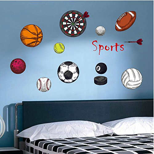 Amaonm removable 3d sport ball toy games wall stickers for Sports decals for kids rooms