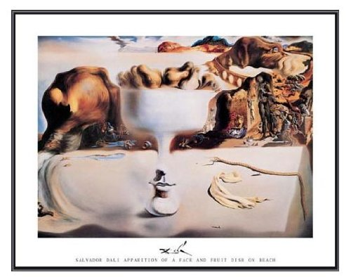 Salvador Dali Dish - Salvador Dali Apparition of Face and Fruit Dish Framed Print Black Frame 28 x 22