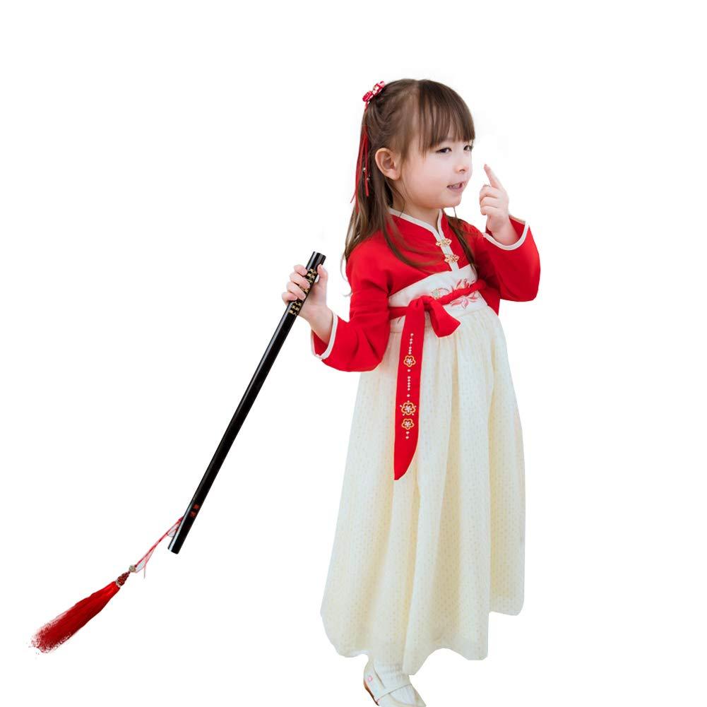100cm JIE. Printemps et été Tube Top Robe Super fée 3 Ans Vieux 5 Ans Vieux 6 Ans Fille Tang Costume Filles Hanfu-Costumes culturels,90cm