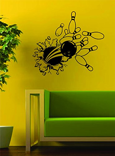 Bowling Ball and Pins Bursting Through the Wall Decal Vinyl Art Sticker Sport Boy Girl Teen Baby