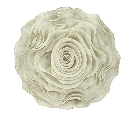 (Fennco Styles Beautiful Handmade 3D Rose with Custom Made Fabric Decorative Throw Pillow 16