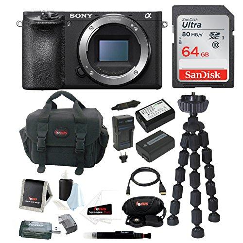 Sony a6500 Mirrorless Digital Camera Body w/ Gadget Bag & 64GB Accessory Bundle by Sony