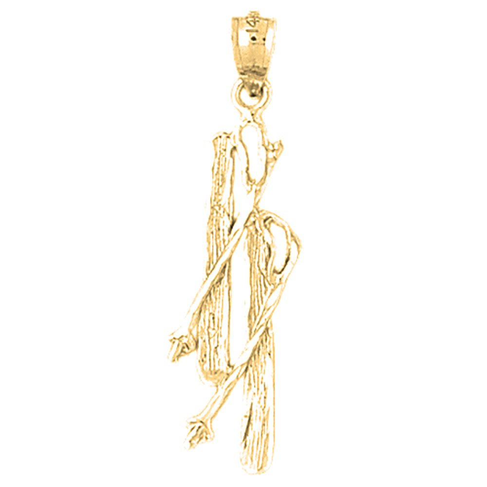 14K Yellow Gold-plated 925 Silver Set Of Skis Pendant with 18 Necklace Jewels Obsession Set Of Skis Necklace