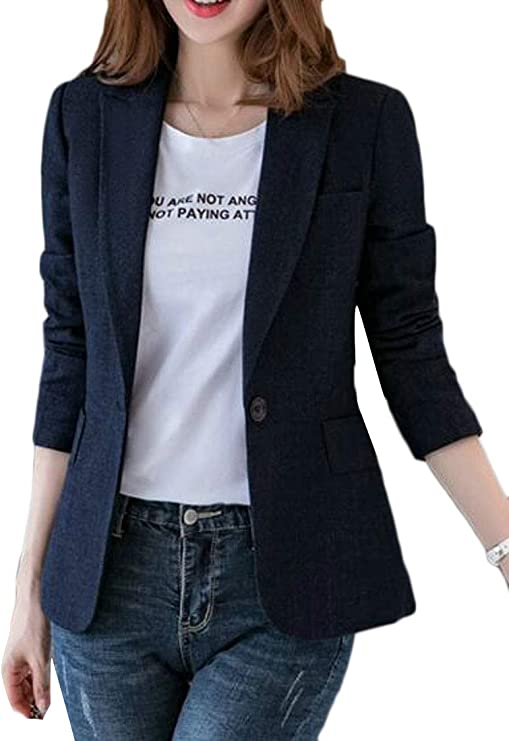 JYZJ Womens Dress Long Sleeve Contrast 1 Button Slim Blazer Jacket Coat