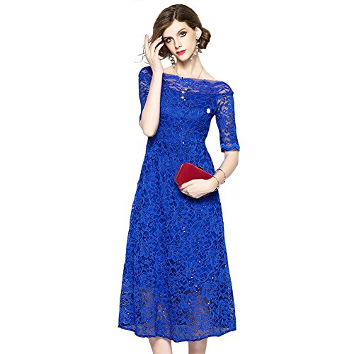 SUGARWEWE Maxi Women Half Sleeves Boat Neck Sequin Party Lace Dress Hollow Out Blue ()