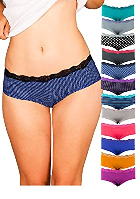 Emprella Womens Lace Underwear Hipster Panties Cotton/Spandex - 12 Pack Colors and Patterns May Vary …
