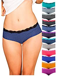 Womens Lace Underwear Hipster Panties Cotton/Spandex - 12 Pack Colors and Patterns May Vary …