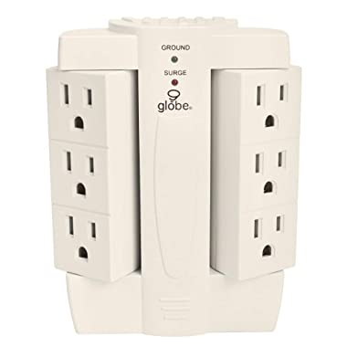 Globe Electric 6-Outlet Space Saver Swivel Surge Protector Wall Adapter Tap, Grounded Outlets, White Finish 7732001