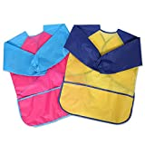 Petift Long Sleeve Nylon Lightweight Art Smocks Stain-Resistant Paint Smocks for Toddler Kids Children Waterproof Apron Art smocks for Finger Painted, Water painted, Crafts and Art Painting/set of 2