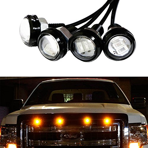 iJDMTOY 4pc Ford Raptor Style 3000K Amber LED Lighting Kit For Chevy Dodge Ford GMC Truck or SUV Grille for Side Markers