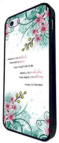 431 - Floral Shabby Chic Roses Imperfection Beauty Madness Is Genius Quote Design iphone SE - 2016 Coque Fashion Trend Case Coque Protection Cover plastique et métal - Noir