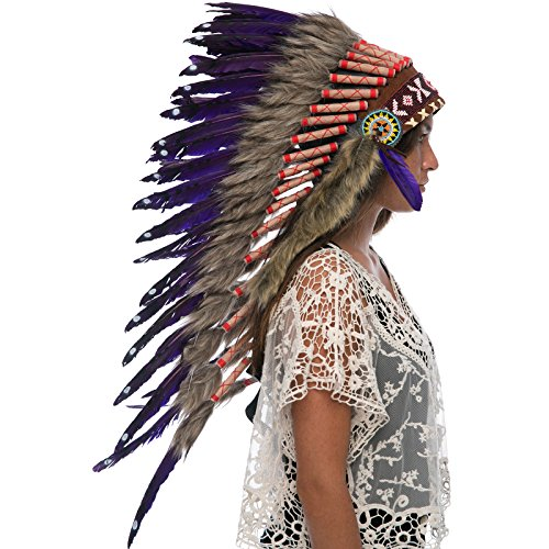 Indian Medicine Man Costume (Long Feather Headdress- Native American Indian Inspired- Handmade by Artisan Halloween Costume for Men Women with Real Feathers - Purple Duck)