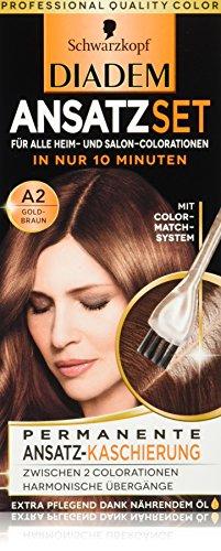 Schwarzkopf Diadem Ansatzset Haarfarbe, A2 Goldbraun, 3er Pack (3 x 22 ml)