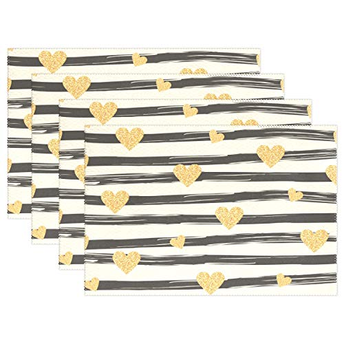 Placemats Set of 4 Hand Painted Style Stripes Golden Hearts Placemat Dining Table Heat Resistant Non-Slip Kitchen Table Mats Easy to Clean ()