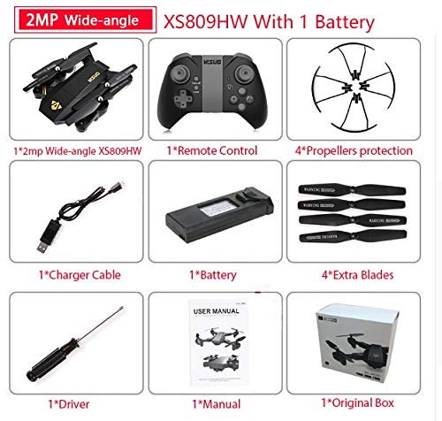 (PampasSK RC Helicopters - Visuo XS809W XS809HW Quadcopter Mini Foldable Selfie Drone with WiFi FPV 0.3MP or 2MP Camera Altitude Hold RC Dron Vs H47 1)