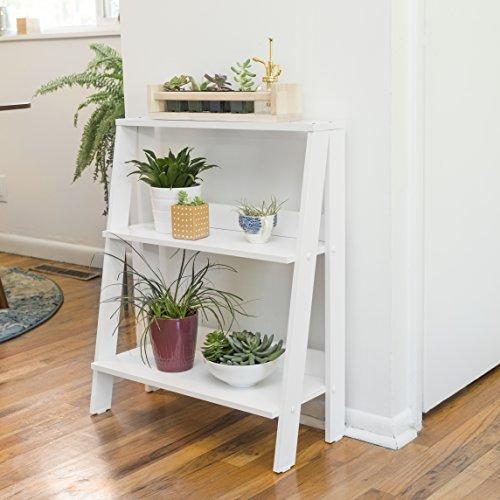 """WE Furniture 30"""" Wood Ladder Bookshelf - White"""