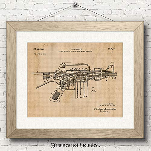 Original AR15 Rifle Patent Art Poster Prints - 11x14 Unframed - Great Wall Art Decor Blueprints Gifts for Firearm Collectors, Gun Owners, Man Cave, Garage, Office, Big Boy's Room from Stars Arts