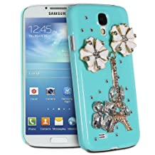 Fosmon GEM Series 3D Bling Eiffel Tower with White Flower Design Case Cover for Samsung Galaxy S4 / S IV / GT-I9500 - Fosmon Retail Packaging (Mint)