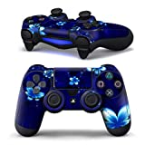 1 Pair of Protective Vinly Decal Skin/stickers Wrap for Ps4 Controller Game Pad for Sony Play Station 4 Dualshock Wireless Controller Wrap Gamepad Blue Flowers