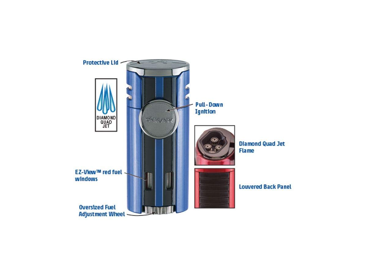 High Performance HP4 Diamond Quad Flame Cigar Lighter, in Attractive Gift Box, in-line Fuel Adjustment Wheel, Oversized Double EZ-View Fuel Windows, Lifetime Warranty, Gunmetal 2 by Xikar (Image #2)