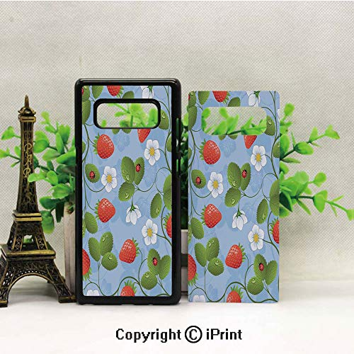 (Note 8 Case for Girls,Strawberries Daisies and Ladybugs Looks Like Ivy Plant Spotted Insects Image Galaxy Note 8 Case, Anti Slip Note 8 Case Dust Scratch Shock Resistance Protective Cover for Samsung)