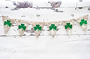 St. Patrick's day Banner, Shamrock, Clover Burlap Banner B053