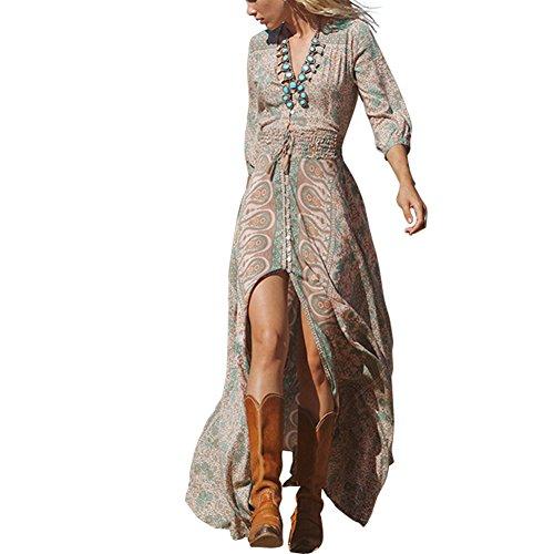 vestido largo con Cuello En V, vestido maxi para fiesta, noche, cóctel Floral