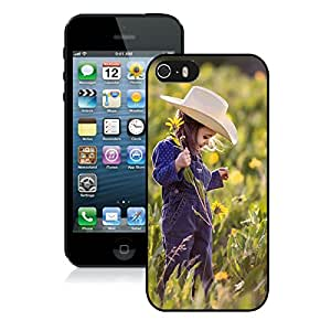 Lovely Little Girl and Flower For iPhone 5S Black TPU Case Cover