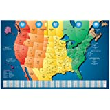 Amazoncom US And World Maps With Time Zones Learning Card - Map of time zones us