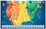 North America Laminated Gloss Full Color Time Zone Area Code Map incudes Reverse Lookup Wall Size Jumbo 48 x 75