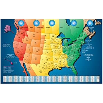 Amazoncom North America Laminated Gloss Full Color Time Zone - Large laminated us map