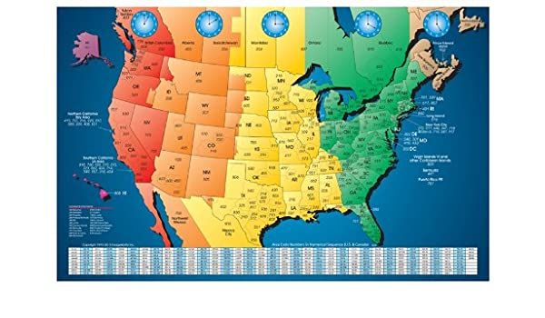 North America Laminated Gloss Full Color Time Zone Area Code Map - Us map colored by time zone