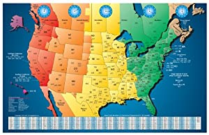 USA Area Code And Time Zone Wall Map Mapscom Telephone Code For - Us map colored by time zone