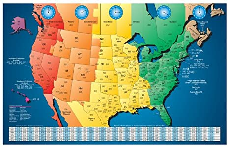 North America Laminated Gloss Full Color Time Zone Area Code Map Includes  Reverse Lookup Wall Size Large 24 X 35 Country