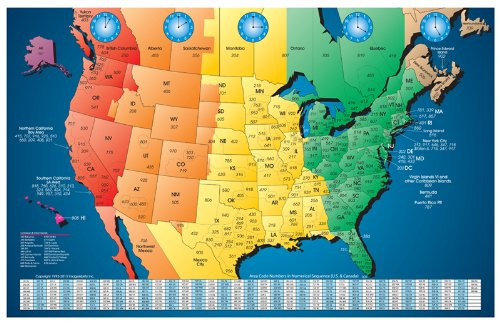 Set of 6 North America Laminated Gloss Full Color Time Zone Area Code Maps Incudes Reverse Lookup Desk Size Large 11 x 17 ()