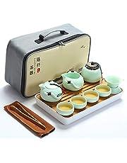 fanquare Przenośny podróżny zestaw do herbaty kungfu, ręcznie wykonany zestaw do herbaty kungfu, porcelanowy czajniczek, filiżanki do herbaty, bambusowa taca do herbaty z przenośną torbą podróżną