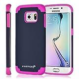 Galaxy S6 Edge Case, Fosmon HYBO-DUOC Slim Fit Hybrid Silicone Gel Case for Samsung Galaxy S6 Edge (Pink/Navy Blue)