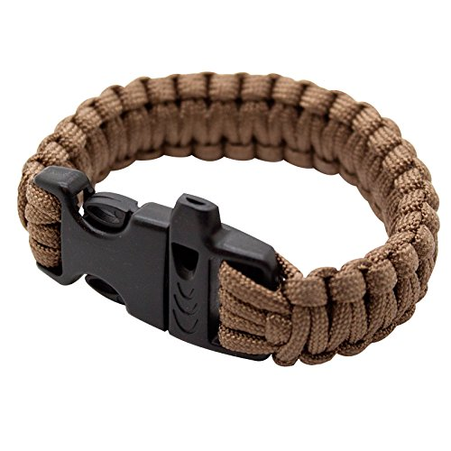 SAS Survival Paracord Bracelet 550lbs With Whistle - Brown