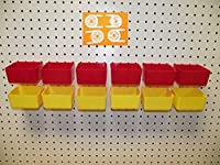 """16 PACK 1/4"""" HOLE Peg Board Workbench Bins (6) Red bins & (6) Yellow bins PLASTIC Plus (4) Tool holders FITS WOODEN PEGBOARDS (PEGBOARD NOT INCLUDED) from JSP Manufacturing"""
