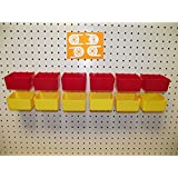 "16 PACK 1/4"" HOLE Peg Board Workbench Bins (6) Red bins & (6) Yellow bins PLASTIC Plus (4) Tool holders FITS WOODEN PEGBOARDS (PEGBOARD NOT INCLUDED)"