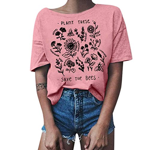 Insignia Folder - Shusuen Plant These Save The Bees Shirt Flowers T Shirt Tee Tops Pink