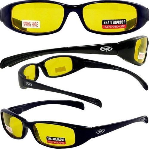 Nouvelles Attitudes–Style des lunettes de soleil–Verres jaunes, cadre noir brillant